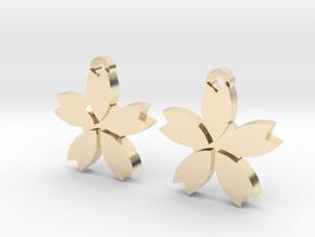 Sakura (Cherry Blossom) Flower Earrings in 14k Gold Plated Brass