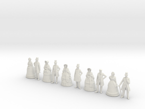 1/43 Scale Early Victorian Figures x 10 Standing in White Natural Versatile Plastic