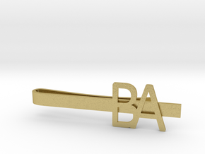 Custom Initial Tie Clip in Natural Brass