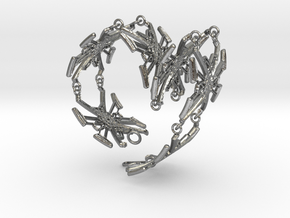 Metal X Bracelet Big 24 cm long in Natural Silver (Interlocking Parts)