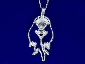 Wolves in Love in Polished Silver