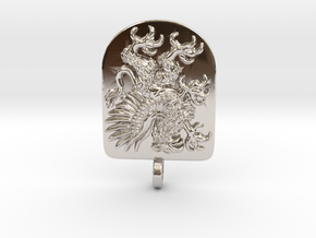 Griffin Heraldic Coat of Arms Pendant. in Rhodium Plated Brass