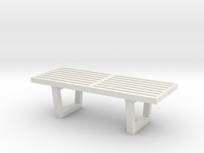 "1:48 48"" Nelson Bench in White Natural Versatile Plastic"