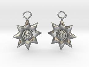 Flowers Earrings in Natural Silver