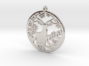 Deer-Circular-Pendant-Stl-3D-Printed-Model in Rhodium Plated Brass: Medium
