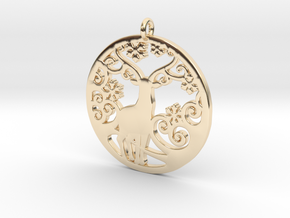 Deer-Circular-Pendant-Stl-3D-Printed-Model in 14k Gold Plated Brass: Medium