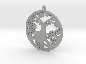 Deer-Circular-Pendant-Stl-3D-Printed-Model in Aluminum: Medium