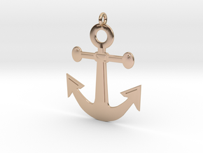 Anchor Pendant 3D Printed Model in 14k Rose Gold: Medium