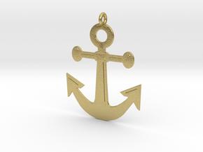 Anchor Pendant 3D Printed Model in Natural Brass: Medium