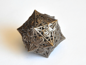 D20 Balanced - Spiders in Polished Bronze Steel