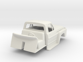 1/64 Late 1970's Ford F600 / F700 Cab with Interio in White Natural Versatile Plastic