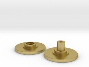 Spinner Caps - Screw Design (Pair) Print Metal in Natural Brass