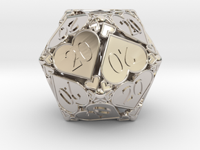 D20 Custom - Hearts (All 20s) in Rhodium Plated Brass