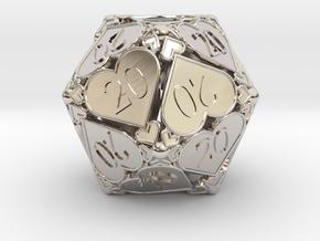 [BETA] D20 Custom - Hearts (All 20s) in Rhodium Plated Brass