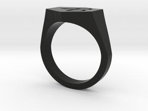 4B engraved ring-10US in Black Premium Versatile Plastic