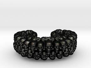 CATACOMB BANGLE V2 in Matte Black Steel: Extra Small