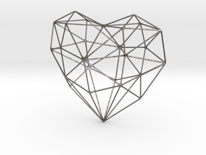 SIMPLE HEART - minimalist wireframe pendant design in Polished Nickel Steel: Small