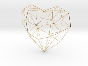 SIMPLE HEART - minimalist wireframe pendant design in 14k Gold Plated Brass: Small
