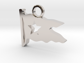 Titanic Pendant: White Star Pennant in Rhodium Plated Brass