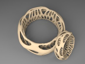 Chunky Voronoi​ Sterling Silver / Gold Bracelet in Natural Silver: Medium