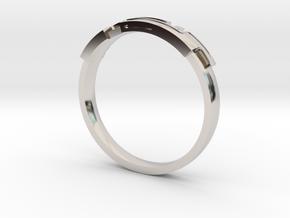 Digital Ring in Rhodium Plated Brass