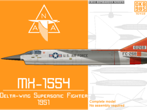 North American MX-1554 Fighter (F-102 Competitor) in Black Natural Versatile Plastic