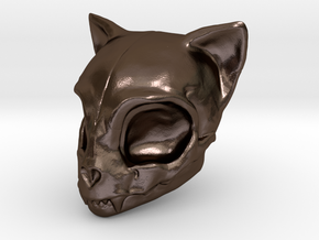 Cat Skull in Polished Bronze Steel