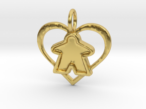 Meeple heart - precious filled in Polished Brass