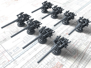 "1/700 German 8.8 cm/45 (3.46"") SK L/45 Guns x8 in Smoothest Fine Detail Plastic"