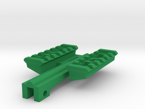 Dual Top Picatinny Rails for Nerf NailBiter in Green Processed Versatile Plastic