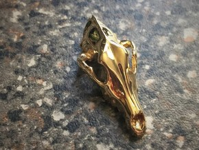 Dog Skull Pendant in 18k Gold Plated Brass