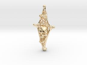 Diamond Bone Pendant in 14k Gold Plated Brass
