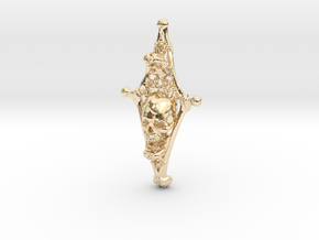 Diamond Bone Pendant in 14K Yellow Gold