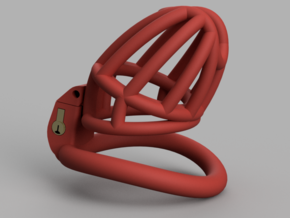 "Cherry Keeper ""Headlock"" Cage - Long Wide in Red Processed Versatile Plastic: Medium"