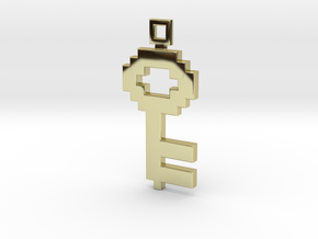 Pixel Art  -  Key  in 18k Gold Plated Brass