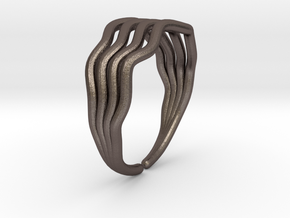 Wave ring  in Polished Bronzed-Silver Steel