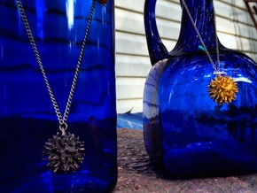 Sweetgum Tree Seed Pendant: Necklace/Earring in Matte Bronze Steel