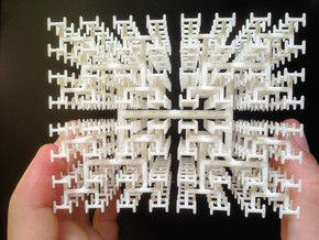 Space-Filling Fractal Tree, the H-Tree in 3D in White Natural Versatile Plastic