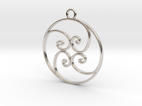Golden Ratio Circle pendant -- mk1  in Rhodium Plated Brass
