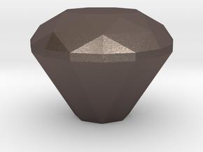 Diamond Gear Shift Knob in Polished Bronzed-Silver Steel: Medium