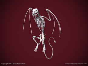 Wyvern Skeleton Perched  in White Natural Versatile Plastic