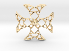 Pointed Cross in 14k Gold Plated Brass