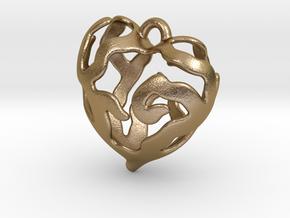 Heart Tree Pendant in Polished Gold Steel