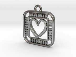 Pendant - Geek Love in Polished Silver: d20