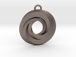 Geometrical pendant no.21 in Polished Bronzed-Silver Steel