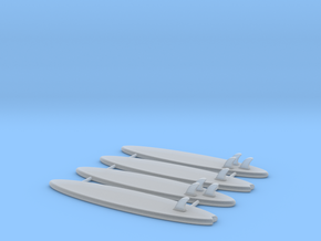 Set of 4 - Surfboards  in Smooth Fine Detail Plastic