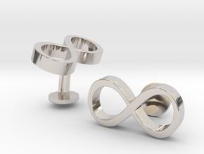 Infinity Wedding Cufflinks in Rhodium Plated Brass