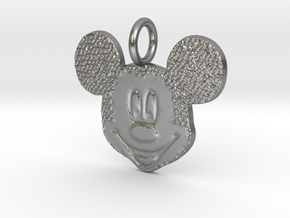 Mickey Mouse head  in Natural Silver