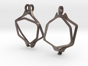 Dice Pendant - D20 - 20mm  (steel) in Polished Bronzed-Silver Steel: Medium