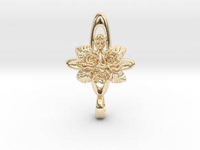 Rose Cross Bethlehem Star Pendent in 14k Gold Plated Brass
